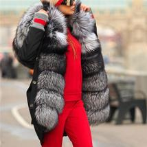 Top Quality Luxurious Fox Fur Collar lined Hooded Fox Parka Coat image 2
