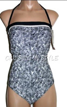 Gottex Gideon Swimsuit Black 1-Piece Geometric Bandeau Style Strapless s... - $58.40