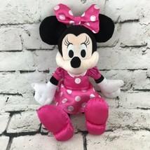 Disney Minnie Mouse Plush Pink Polka Dot Dress And Bow Stuffed Animal To... - $12.86