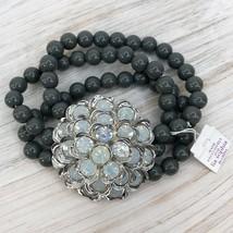 Women's Gray Lia Sophia Black & Silver Beaded Stretch Bracelet - $24.12