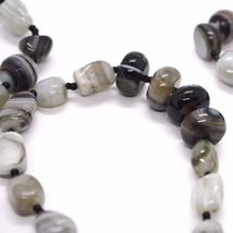 Long Necklace 120 cm, 1.2 Metres, Agate White Black Grey Banded image 7