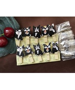 Black Dog Paper Wooden Clips,Photo Wooden Pegs with twine,Pin Clothespin - $3.20+