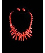 Hippie jewelry / large faux coral - vintage Tribal necklace - branch red... - $155.00