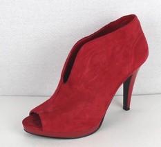 Nine West Pendanto women's red leather shootie bootie open toe size 8.5 - $21.11