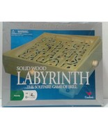 Cardinal Solid Oak Finish Wood Labyrinth Game Solitaire Skill w/ Silver ... - $18.48