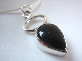 Black Onyx Hoop Teardrop Sterling Silver Pendant New - $8.80