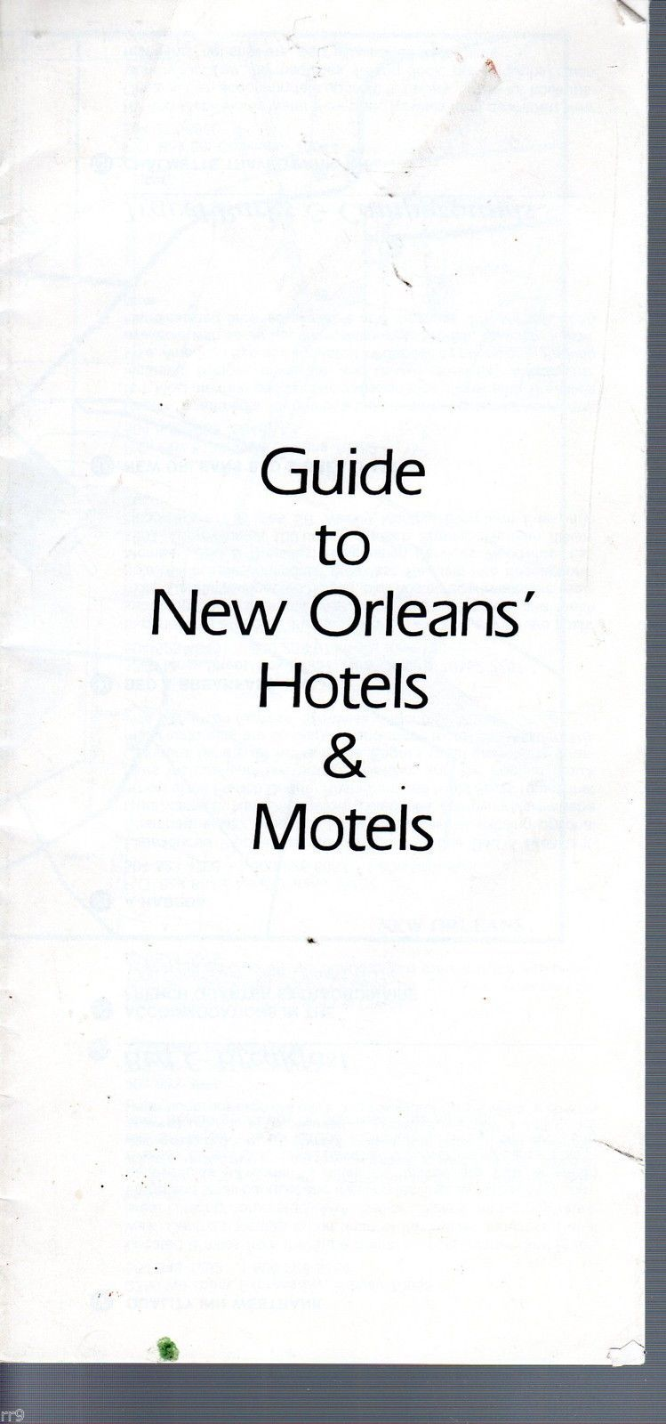 Primary image for Guide to New Orleans' Hotels & Motels Brochure with Map