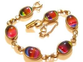 Harmony Rainbow Givre Bezel Set Glass Rhinestone Vintage Sarah Cov Brace... - $32.66