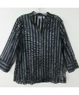 New Chico's Travelers 2 Sheer Black Silver Metallic 3/4 Zip Top Jacket 12 L - $39.55