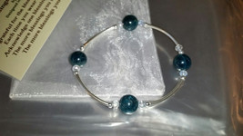 Apatite and Sterling Silver Metaphysical Blessings Bracelet-Deep Aqua Bl... - $30.00