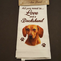 Dachshund Kitchen Dish Towel Dog Red Doxie All You Need Is Love Pet Cott... - $11.49