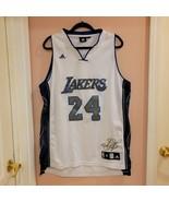 Very rare Kobe Bryant #24 Los Angeles Lakers Adidas Jersey White/Blue/Si... - $105.00