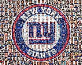 New York Giants Photo Mosaic Print Art using over 100 of the Greatest NY... - $42.00+