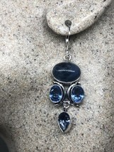 Vintage Blue Sodalite Iolite Earrings 925 Sterling Silver Lever backs - $51.32