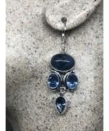 Vintage Blue Sodalite Iolite Earrings 925 Sterling Silver Lever backs - $51.32