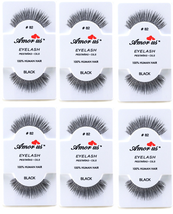 6 Pairs AmorUs 100% Human Hair False Long Eyelashes # 82 compare Red Cherry - $8.90