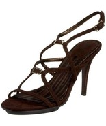 New CHARLES DAVID strappy sandals 9 suede dark brown shoes heels high ankle - $71.77