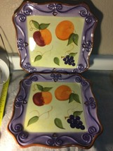 """(2)  TABLETOPS UNLIMITED  MEDICI  SQUARE PLATTERS--13""""--FRUIT---FREE SHI... - $57.77"""