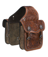 Tough 1 Leather Floral Oak Leaf Tooled Horse Saddle Bag Medium Oil U-33-0 - $129.99