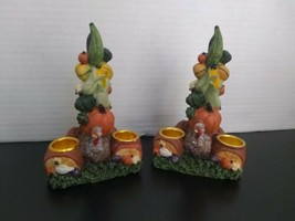 Candle Holder Harvest Thanksgiving Turkey Fall Cornucopia Pumpkins Corn ... - $9.75