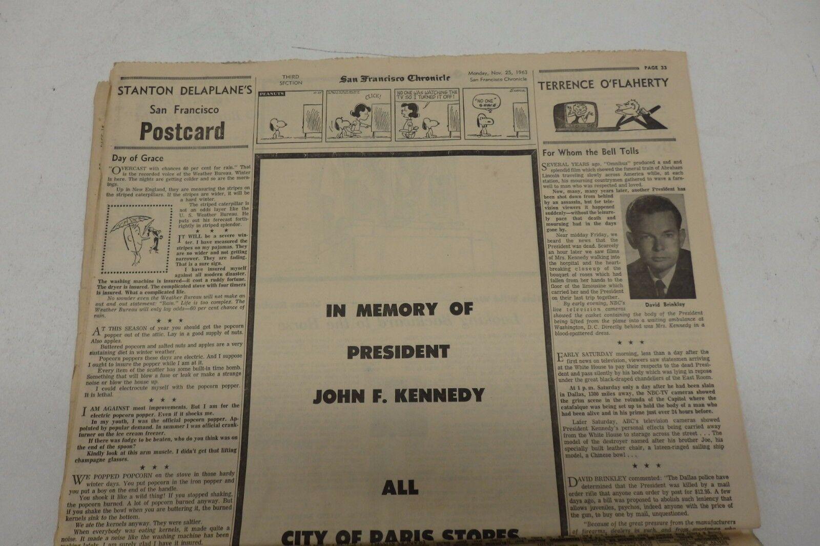 ORIGINAL SAN FRANCISCO CHRONICLE NOVEMBER 25, 1963 OSWALD SLAIN IN TEXAS JAIL