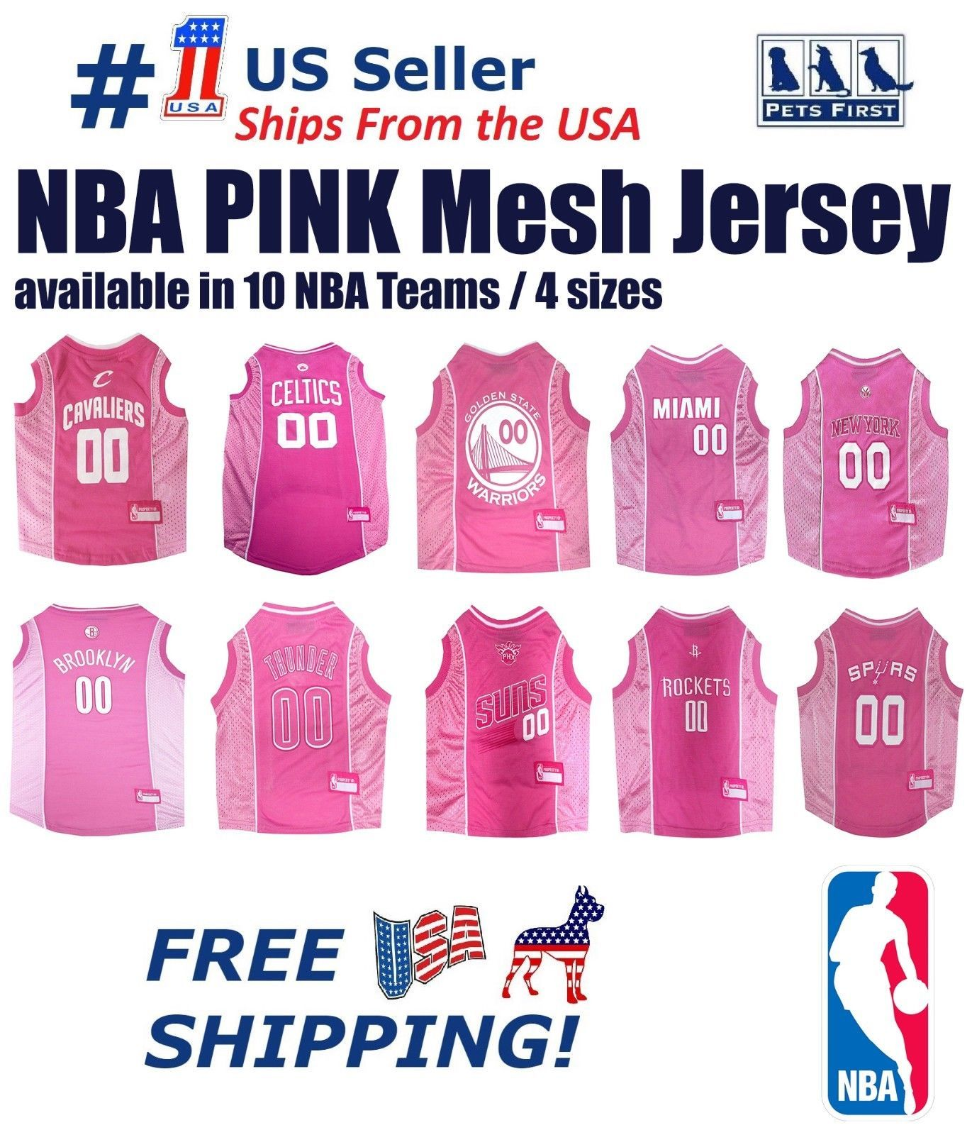 Primary image for NBA Pink Pet Jersey. 10 Licensed Basketball Teams, 4 Sizes. Mesh/Satin Dog Shirt