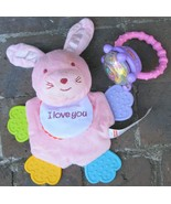 Fisher Price Ring Rattle Bunny Rabbit Crinkle Satin Teether Toy Lot Baby... - $25.19