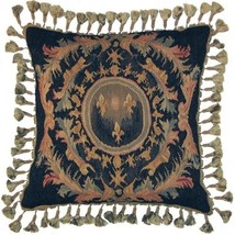 "New Aubusson Throw Pillow 22""x22\"" French Fleur de Lis - $429.00"