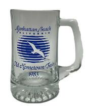 Vintage 1983 Manhattan Beach Hometown Fair Glass Mug Beer Stein Seagull - $34.65