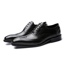 Handmade Men's Black Wing Tip Brogues Dress/Formal Leather Oxford Shoes image 4