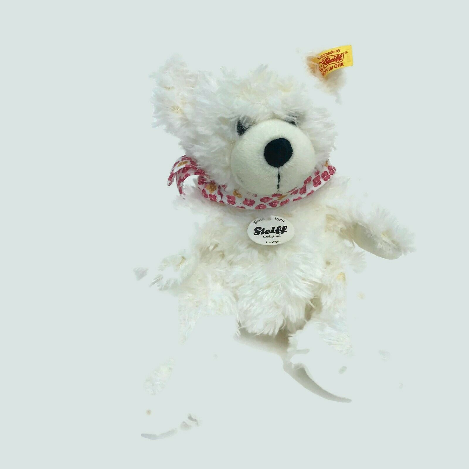 "Steiff Germany Lotte Teddy Bear White Plush 11"" 117503 Soft Nursery Child's Toy"