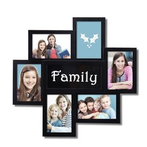 "Adeco 6-Opening 4x6"" Black ""Family"" Plastic Wall Collage Picture Frames - $600,48 MXN"