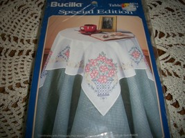 Bucilla Stamped Cross Stitch Table Topper 6424~Wild Roses - $15.00