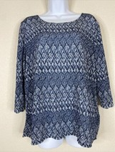 Easywear By Chico's Womens Size 2 Blue Geometric Striped Blouse 3/4 Sleeve - $19.80