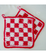 Red & White Checked Crochet Pot Holders Italian Kitchen Hot Pads Classic... - $16.99