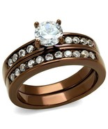 Round Cut Clear CZ Wedding Set LT Brown Plated Stainless Steel TK316 - $21.00