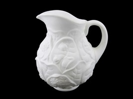 "Fenton Pitcher 1970'S ""White Satin"" Glass, Vintage 7 "" Water Lily Water ... - $48.95"