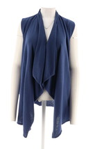 Halston Draped Open Sweater Vest Faux Suede Belt Broadway Blue S NEW A27... - $32.55