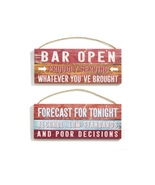 """Wall Signs """"Bar Open Proudly Serving Whatever You've Brought"""" Twine Hanger - $29.99"""