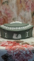 Wedgwood Jasperware Fluted Oval Dome Lid Trinket Box Sage - $34.60