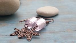 Pink Earrings and Copper Filigree Star Handmade - $14.90