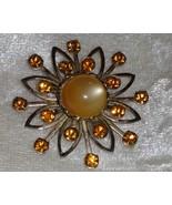 Star burst flower rust amber rhinestone vintage pin brooch lucite atom - $18.00
