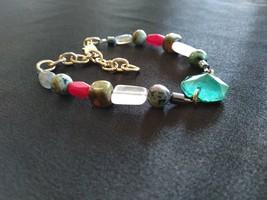 Heart Chakra Gemstone Bracelet with Teal Glass Chandelier Centerpiece - $17.95