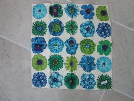 Three Linen Napkins in Vibrant Blue Floral Design - New - $9.99