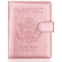 WALNEW Passport Holder Cover Case RFID Passport Travel Wallet, Rosegold - $9.29