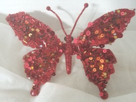 8 Sequined and Beaded Red Butterflies on Clip Christmas Red Hat  Valentines - $35.53