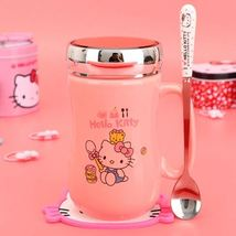 Cartoon Hello Kitty Food Mug Pink Coffee Tea Milk Cup 400ML + Lid + Spoon - $37.75