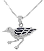 Jewelry Trends Sterling Silver Ocean Sea Bird Pendant with Blue Enamel o... - $33.58