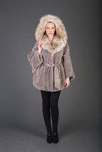 Luxury gift/Mike Beaver Fur Coat/Fur jacket /hooded wiith belt/Wedding,or annive image 2