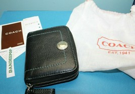 Coach Credit Card Case Zip Wallet SV Black With Dust Bag 6A18 - $79.19
